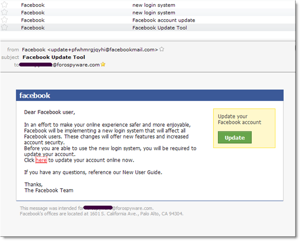 Spam Facebook Zbot
