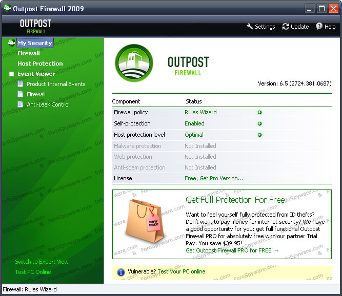Outpost Firewall FREE 2009.